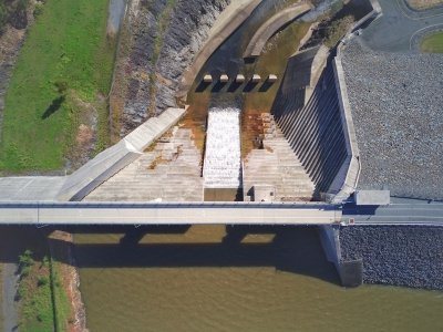 This is a featured image of Hinze Dam top view.