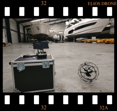 This is a photo of the Elios inspection drone